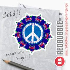 'Beetle Peace' Sticker by Alan Hogan Framed Prints, Canvas Prints, Art Prints, Red Bubble Stickers, Have A Good Weekend, Arizona Usa, Hippie Style, Sticker Design, Beetle