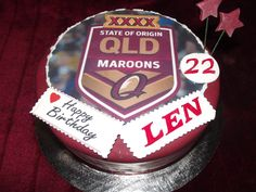 www.frescofoods.co.nz occasion cakes in Auckland New Zealand Queensland Maroons Cake for Len