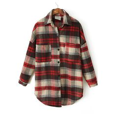 SheIn(sheinside) Red Apricot Plaid Lapel Pockets Loose Blouse ($23) ❤ liked on Polyvore featuring tops, blouses, sheinside, red, embellished collar blouse, red top, brown blouse, button blouse and brown tops