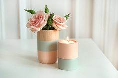 Set of Painted Wooden Vase and Candle holders Home Decor by ShadeonShape on Etsy Pastel Decor, Flower Places, Brunch Decor, Paper Vase, Ideas Para Organizar, Wooden Vase, Perfect Gift For Her, Large Flowers, Pottery Vase