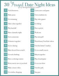 30 Frugal Date Ideas (with free printable) - great list of ideas for celebrating Valentine's Day on a budget!