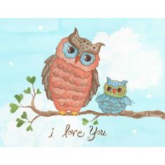 I Love You Baby Owl Wall Art by The Little Acorn A timeless expression of love to share with your child forever. Originally handpainted by Bridget Kelly, wonderful art for little boys or girls of any