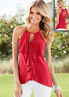 Red (RD) Keyhole Ruffled Top $22  The chic and sexy look you've been imagining. ·  Front split hem   ·  Self tie at back keyhole   ·  Poly/spandex   ·  Made in USA  · Style #Y34062