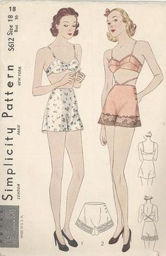 Simplicity vintage lingerie sewing pattern with bra and tap pants. Lingerie Vintage, Lingerie Plus, Vintage Bra, French Lingerie, Pink Lingerie, Bodysuit Lingerie, Vintage Patterns, Free Sewing, Vintage Sewing Patterns