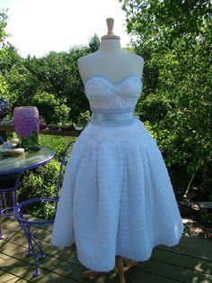 SALE Custom Vintage inspired 1950s Bombshell pin up girl wedding dress finished to order white flowers. $425.00, via Etsy.