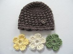 Toddler Crochet Hat With Interchangeable Flowers, Color Of… - Toddler Crochet Hat With Interchangeable Flowers, Color Of Your Choice, Baby/toddler Girl - 12 Months And Up