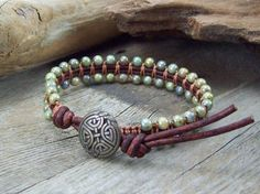 Earthy Leather Bracelet  Knotted Green Bracelet by JunoniaDesigns, $35.00