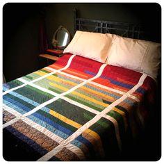 Retro Rainbow Patchwork Quilt - multicoloured quilt, geometric quilt, red orange yellow green blue purple quilt, retro bedspread bedding