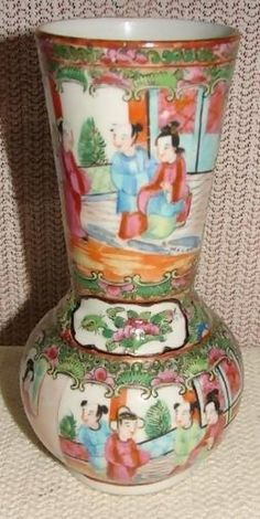 Circa 1875 Chinese Export Rose Medallion Vase in a Very Unusual Form that I have never seen in all the years collecting, looking, buying and selling rose medallion
