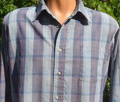 vintage 70s shirt plaid gray blue button down preppy by skippyhaha