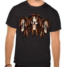 Skull with Dreadlocks Tshirt. Three Skulls with dreadlocks