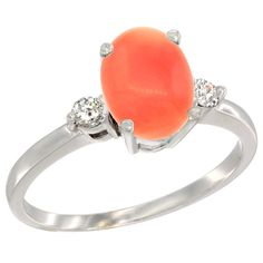 14K White Gold Natural Coral Ring Oval 9x7 mm Diamond Accent, sizes 5 to 10 *** Review more details here : Ring Bands