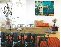 Malibu beach trailer of Liberty Ross, dining room, rustic, chic, antler chandelier, wood table, metal chairs