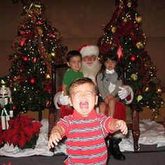 To some kids, that jolly guy with rosy cheeks and the long beard is well, freaky! Check out some of the funniest scared-by-Santa Claus photos, submitted by moms (trust us: you'll want to send this one to a friend). Family Christmas Cards, Christmas Photos, Christmas And New Year, All Things Christmas, Vintage Christmas, Rustic Christmas, Santa Claus Photos, Santa Pictures, Naughty Santa