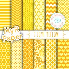 """#Yellow digital paper: """"I LOVE YELLOW""""  pack of backgrounds and #patterns with  #chevron, polka dots, stripes, dots, damask, quatrefoil, hearts  50% OFF ON ORDERS OVER 12 $ (O... #design #graphic #digitalpaper #scrapbooking #yellow #damask #polkadots"""