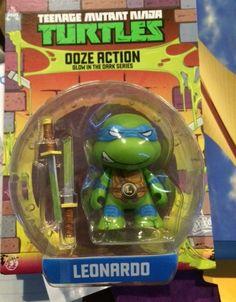 """kidrobot 3"""" Teenage Mutant Ninja Turtles Ooze Action Glow in the Dark Series in """"Leonardo"""".  Retail $9.99.  Brand new in box.  SELL PRICE: $5.50. *Yvette*"""