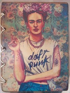 Frida Kahlo wood cover notebook. by TheRusticFeatherr on Etsy, $20.00