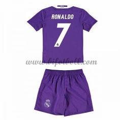 Billiga Fotbollströjor Kits Real Madrid Barn 2016-17 Ronaldo 7 Kortärmad Borta Fotbollsdräkter