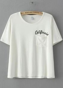 With Pocket Letter Print White T-shirt  http://www.romwe.com/With-Pocket-Letter-Print-White-T-shirt-p-113906-cat-669.html