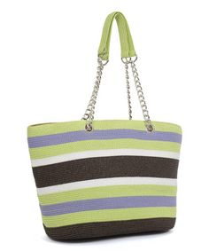 This Brown & Lime Stripe Chain Tote is perfect! http://www.zulily.com/?SSAID=930758&tid=acceleration_930758 #zulilyfinds