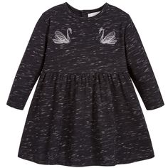 With an embroidered swan design that has been carefully adapted from the designer's womenswear collection for a directional look, this Mini-me black and grey jersey dress by Stella McCartney Kids will be a fantastic addition to her weekend wardrobe. It fastens with a chunky zip down the back and has two side seam pockets.The fit can be quite small, so Stella McCartney advises you to choose a size up if you want room to grow.