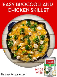 Chicken and broccoli skillet Chicken Skillet Recipes, Skillet Meals, Cooking Recipes, Healthy Recipes, Quick Easy Meals, Casserole Recipes, Food Dishes, Food Inspiration, Dinner Recipes