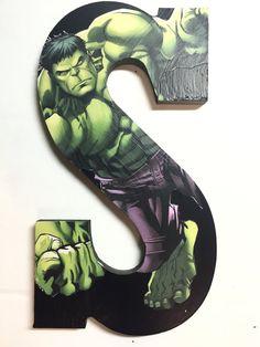 Superhero theme Hulk room decor letter by InitiallyYoursHaney