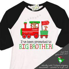 Christmas big brother train raglan shirt reindeer by zoeysattic