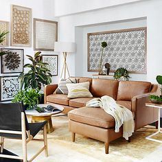 Buy west elm Hamilton Leather Sectional Left Loveseat RHF Chaise Sofa Online at johnlewis.com