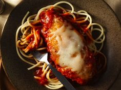 Easy Weeknight Chicken Parmesan - Serve your family this chicken and spaghetti dinner made using Progresso™ Recipe Starters™ tomato sauce – ready in 30 minutes.