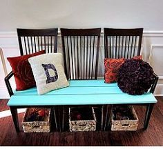 """Repurpose Old Kitchen Chairs When we were getting ready to move, I wanted to throw out our old kitchen chairs. They were in my """"donate"""" pile. My..."""