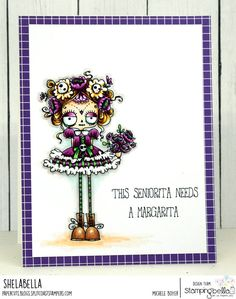 www.stampingbella.com: rubber stamps used: DAY OF THE DEAD ODDBALL. Card by MICHELE BOYER Halloween Drawings, Halloween Cards, Love Stamps, Art Impressions, Cricut Cards, Fall Cards, Coloring Pages, Colouring, Cool Things To Make