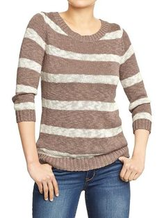 NWT Old Navy Womens Chunky Slub-Knit Sweater S Beige White Stripe Small Top NEW #OldNavy #Crewneck