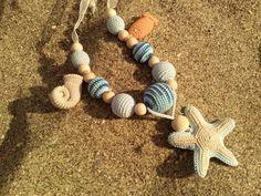 Sling necklace sling beads teething nursing beads por OmGanchillo