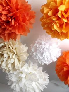 Paper pom poms ... 6 poms ... Carrot cake // DIY kit // by pomtree, $24.00