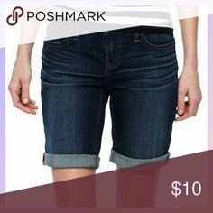 jcpenney Dark Wash Plus Size Bermuda Shorts Great used condition, minor pilling between the legs and on inner pockets. Very cute and comfy. Smoke and pet free home! No trades or sales off of Posh, please! jcpenney Shorts Jean Shorts
