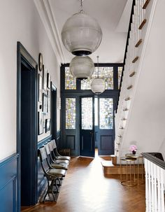 How to add value to your home – Best ways to add value – House prices Beautiful stained glass + Hague Blue-type colour Blue Hallway, Hallway Colours, Front Door Entryway, Glass Front Door, Entrance Hall, Entryway Ideas, Glass Doors, Decoration Hall, Victorian Hallway