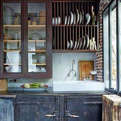 Rustic industrial kitchen. Love.