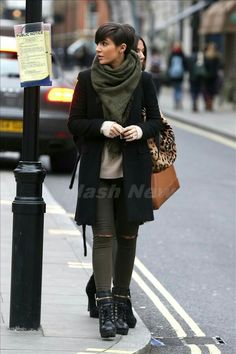 Frankie Sandford's black P-coat and olive scarf and booties