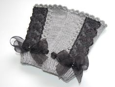 Grey fingerless gloves gray gothic mittens arm warmers with lace and bow black