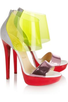 #Christian Louboutin #Dufoura metallic-leather, PVC and suede sandals #NET-A-PORTER.COM