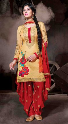 USD 35.77 Cream Cotton Silk Punjabi Suit 48024