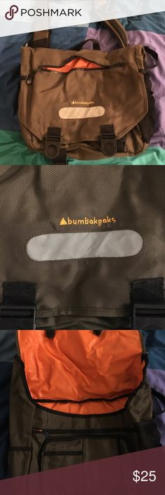"""BumBakpak (BBP) Messenger Bag (Unisex) BBP backpacks have a unique design where it allows you to wear them as messenger bags or as backpacks.   Please note, attached pic of """"backpack"""" example is a stock image from their website, but all clasps and straps are in order on the actual product as well (not good enough of picture takers here though!)   Bag was used for commuter purposes on NYC subway and has not grown with the needs of the new job sadly. Very useful bag with a LOT of pockets and…"""