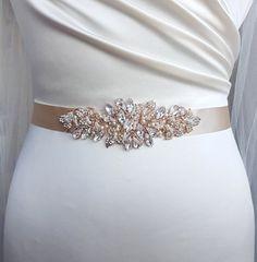 Rose gold bridal belt, Swarovski belt, luxury bridal sash, diamante belt, rose gold, bridal belt, couture belt, hand beaded belt, LEANNAH
