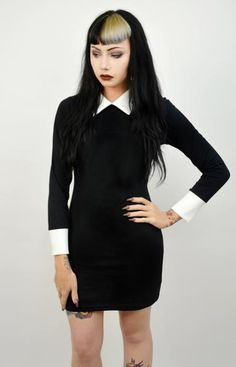 Long sleeved Wednesday Addams Dress! White collar and cuffs added along with a back zipper. Professionally sewn.