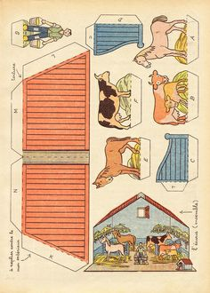 dec ecurie 2 | Flickr - Photo Sharing! Paper Doll House, Paper Houses, Diy Paper, Paper Art, Paper Crafts, Papercraft Anime, Origami Templates, Box Templates, Paper Structure