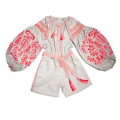 Poltava playsuit in gray. Vyshyvanka style by MARCH11.us