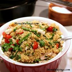 Menu Musings of a Modern American Mom: Toasted Couscous Salad with Asparagus and Tomatoes