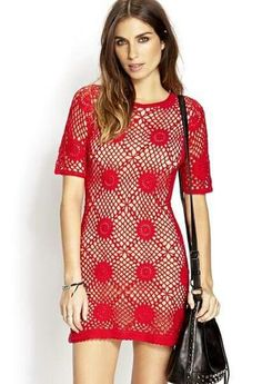 Knitted unlined Red Crotchet Dress sz L An unlined crochet dress. Sz L Forever 21 Dresses Red Crochet Dress, Crotchet Dress, Crochet Summer Dresses, Crochet Shirt, Knit Dress, Crochet Tops, Clothing Patterns, Dress Patterns, Crochet Patterns
