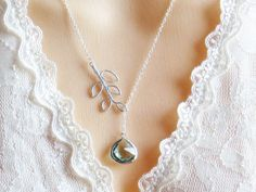 Lariat Necklace with Aqua Stone, Valentine's Day, Necklace for Mom, Gift for Best Friend, Everyday Jewelry